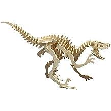 matches21 Holz Bausatz Dinosaurier Velociraptor 47-tlg. 53x30 cm Steckbausatz f. Kinder Holzbausatz ab 8 Jahren