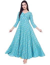 Zainab Fashion Kurti for Women and Girls Printed Ethnic-wear Anarkali Rayon Sky Blue (X-Large)