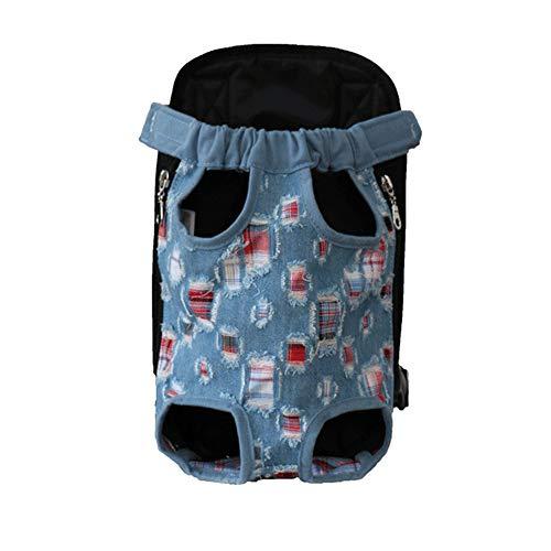 PET SPPTIES Adjustable Bolsa para Perros y Gatos Viaje Bolsa de Transporte de Mascotas para Viajar Senderismo Camping PS052 (S, Denim)