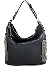 Joyism Women Handbag Hobo Bags Shoulder Tote Purse Bags Top Handle Pu Leather Bags With Side Zipper Pouch (Black)