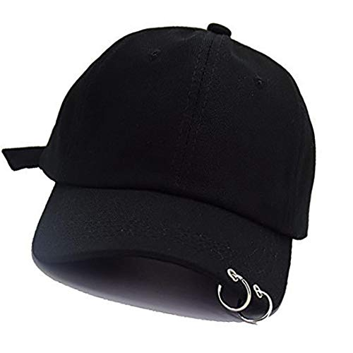 Baseball Cap K-Pop Bangtan Boys Außen Eisen Ring Hysteresen-Hut Lässige Adjustable Vati-Hut Hip Hop-Hut (Schwarz)