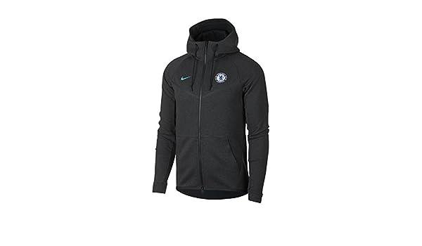 fd23e878e Nike Men's Chelsea FC Soccer Tech Fleece Windrunner Jacket (Medium) Black  Heather, Omega Blue: Amazon.co.uk: Sports & Outdoors