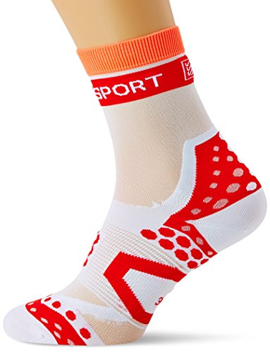 COMPRESSPORT BIKE ULTRALIGHT   CALCETIN DE CICLISMO UNISEX  COLOR BLANCO / ROJO  TALLA 2
