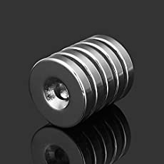 HITSAN INCORPORATION 5pcs N35 Strong Disc Neodymium Magnets 25mm x 5 mm Round NdFeB Magnets with 6mm Hole
