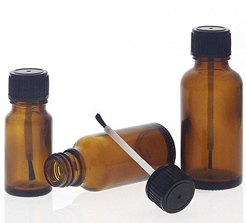 Braune Glas Pinselflaschen, Kosmetex lichtschützende Braunglas Flasche mit Pinsel, 3er Set
