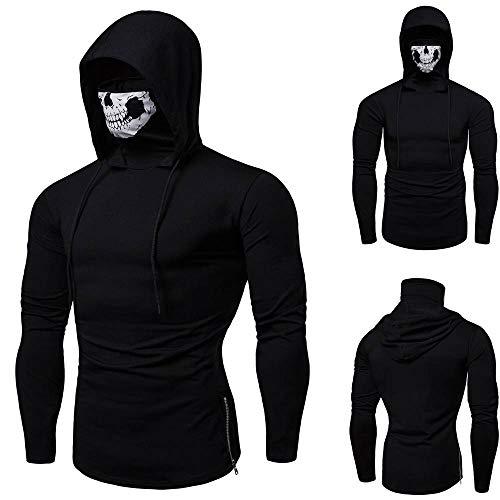 Kapuzenpullover Sunnyadrain Herren Hoodie Reine Farbe Maske Plus Größe Geschäft Pullover Winter Warm Sweatshirt Top Langarm