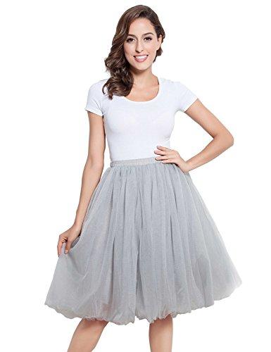 Clearbridal Damen Tutu Rock Kleid Tüllrock Prinzessin Ballettrock 12021 Silber Größe 2XL