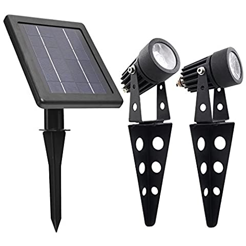 Mini 50X Twin Solar-Powered Cast Aluminium Warm White LED Spotlight 60-100 Lumen Per Light Fixture for Outdoor Garden Yard Landscape