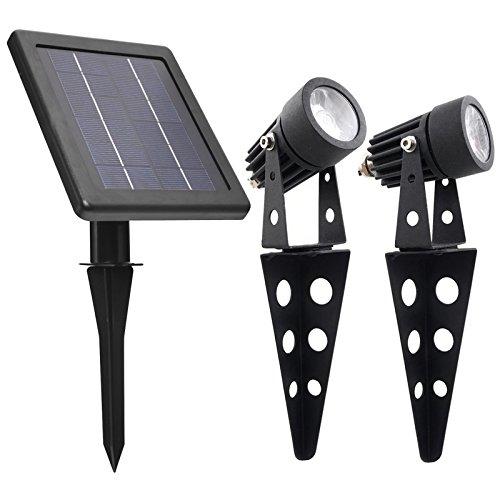 Solar Light Mart Mini 50X Twin, solarbetriebener Aluguss-LED-Strahler, warmweiß, 60-100 Lumen Pro Beleuchtungseinheit, zur Außenbereichs-, Garten-, Hof-, Geländebeleuchtung