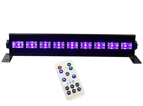 a Alvor LED UV Schwarzlicht Strobe Lampe LED BarBühnenbeleuchtung DMX512 und Sound Aktiviert Partylicht Effektlicht Disco Lichter DJ UV Beleuchtungfür Party (9 led 25W) ()