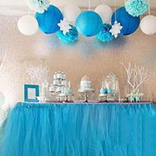 Jupe de table, Romantique gaze bureau Tulle, Décoration de table, flocon de neige Wonderland linge de table, pour la fête de naissance, de mariage, anniversaire, Fête, Bar, bal, la Saint-Valentin Noël (Bleu)