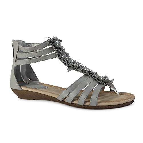 Damen Sandalen Sandaletten ST98 Keilabsatz Blumen Glitzer Zehentrenner Grau Perlen