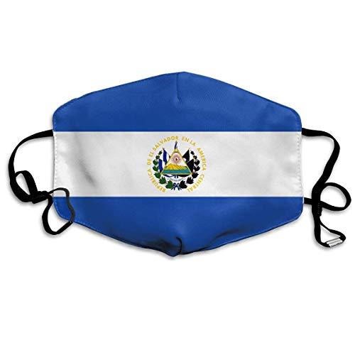 maske mit Ohrschlaufe, hypoallergen, für Damen, Herren, Klettern, Skate, Gesicht und Nasenabdeckung mit verstellbarem Gummiband, El Salvador Flagge ()