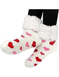 Slipper Socks Non Skid, Women's Fleece Lining Fuzzy Soft Christmas Knee Highs Stockings Slipper Socks