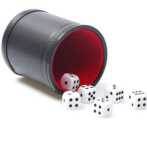 Leder-Würfel-Becher-Set mit rotem Filzfutter, leiser Shaker mit 6 Punkten Würfeln für Farkle Yahtzee Spiele, Schwarz (Leder-würfel-box)
