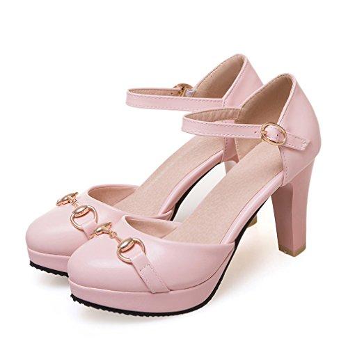 YE Damen Knöchelriemchen Geschlossene Pumps Blockabsatz High Heels Plateau mit Schnalle 8cm Absatz Elegant Schuhe Rosa