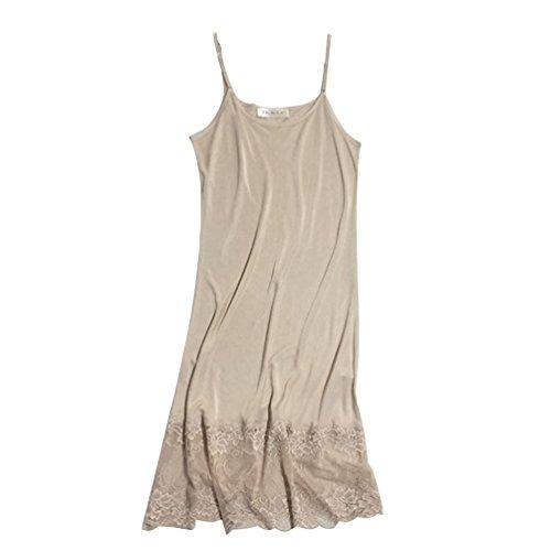 Verstellbarer Gurt Stricken Kleid (Baymate Damen Stricken Unterkleid Knielanges Spitze Nachthemd Verstellbare Träger Haut M)