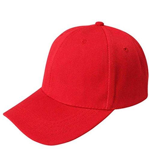 Canvas Baseball Cap Blank Hut Einfarbig Verstellbarer Segeltuch Kappe Sunday Unisex (Rot) -