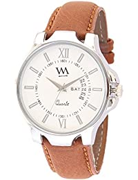 Watch Me White Dial Brown Leather Strap Day Date Watch for Mens and Boys