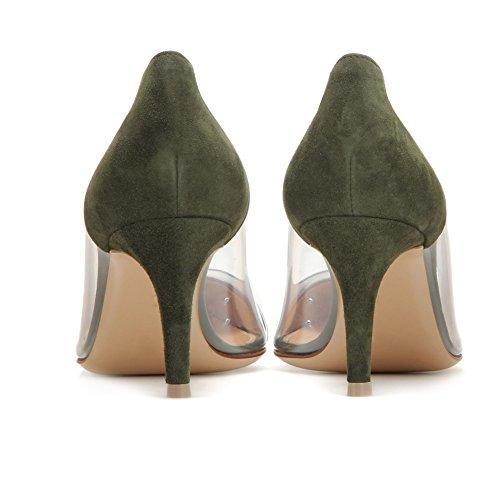 EDEFS -Escarpins Femmes - Kitten-Heel Cour Pompes - Transparent PVC Chaussures - Bout Pointu Bride Soirée Mariage Argent
