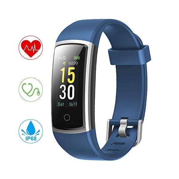 YONMIG Pulsera de Actividad, Pulsera Inteligente Impermeable IP68 con Pulsómetro y Presión Arterial, Monitor de Podómetros, Monitor de Calorías Notificación de Mensaje Deporte para iOS y Android 2