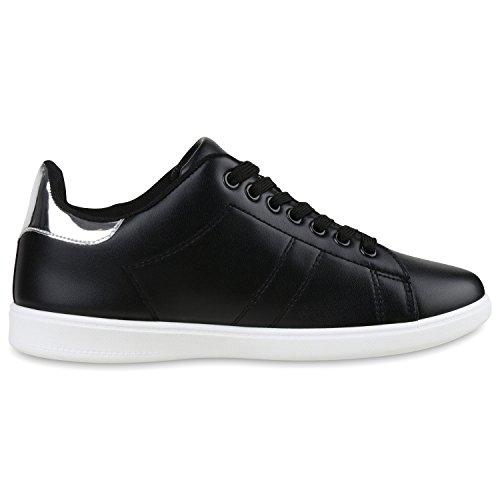 Modische Damen Sportschuhe | Bequeme Sneakers Low | Freizeit Schuhe | Hochwertige Verarbeitung | Gr. 36-41 Schwarz Silber