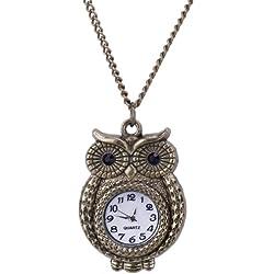 EOZY Antique Owl Pendant Analog Glass Dail Pocket Watch Quartz Clock Necklace Chain 4.5cm*3.2cm