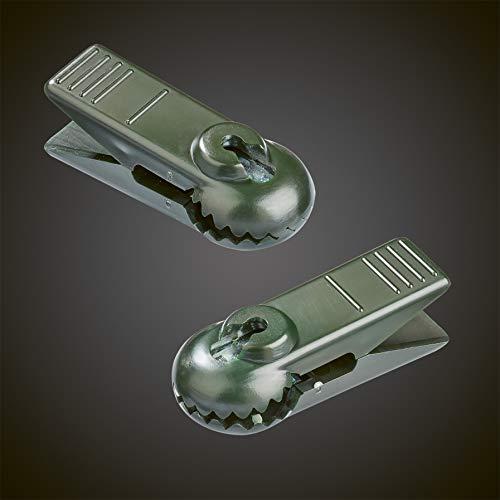 HELLUM 983203 Ersatz-Klammern 2 Stück, groß, E14, grün, für Schaft-Außenketten Ersatzteile für Hellum-Lichterketten