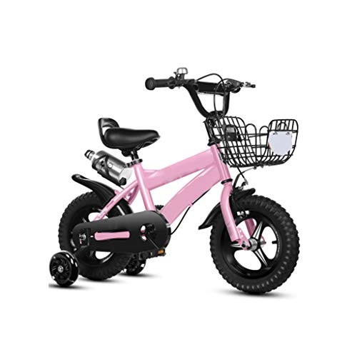 Kinderfahrrad mit Stützrädern für 12,14,16,18 Zoll Fahrrad, Jungen und Mädchen mit Hilfsrad Fahrrad, (Weiß, Blau, Gelb, Rosa) (Color : Pink, Size : 14IN)