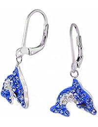 SL-Silver Kinder Ohrringe Kristall Delfin Blau 925 Silber in Geschenkbox