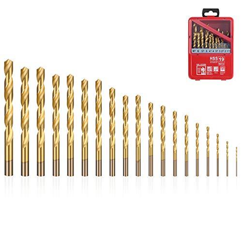 flintronic® Bohrer für Beton, Hammerbohrer, HSS Steinbohrer, 19 Stück (1mm~10mm) Bohrer Werkzeuge zum Bohren von Löchern in Beton, Keramikfliesen, Stein, Holz, Metall