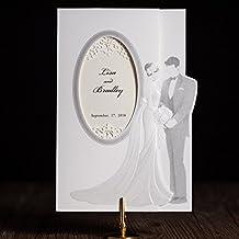 VStoy 20piezas Nueva llegada elegante corte láser invitaciones de boda con novia y novio tarjetas de boda Tarjeta de invitación para la fiesta de boda suministros