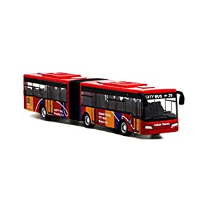 Local Makes A Comeback  - Modelo de aleación de bus de versión extendida de camuflaje de sección doble, juguete de bus de simulación,Rojo