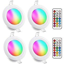 LED Einbaustrahler 5W (ersetzt 40W), RGBW mit Fernbedienung Rund Deckenspots IP44 Weiß 5700K Einbauleuchte RGB Farbwechsel Farbige Dimmbare ultra Flach (4er-Pack)