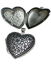 BXG Schmuck Medaillon Herz mit Gravur Blume aus Sterlingsilber gearbeitet