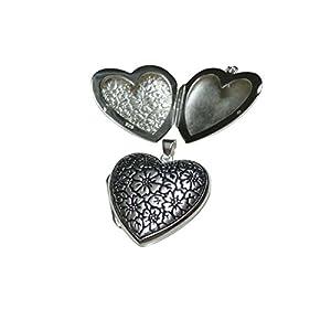 Medaillon Herz mit Gravur Blume aus 925% Sterling Silber gearbeitet, Geschenk, Schmuck, Damen, Freundschaft