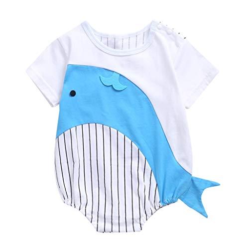 LEXUPE Sommer Säuglingsbaby Kinder Jungen Mädchen 3D Cartoon Print Bodysuit Strampler Kleidung(Hellblau,90)