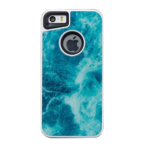 iphone 5S Custodia, iphone SE Silicone Cover, Ekakashop Moda Lusso Marmo Modello Disegno PC & TPU 2-in-1 Epoxy Mestieri Morbido Rigida Cassa del telefono per iphone 5 3D Gel Silicone Gomma Cover, Puro 2-in-1--Blu