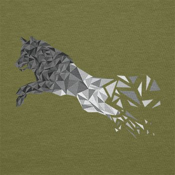 TEXLAB - Polygon Wolf - Herren T-Shirt Oliv