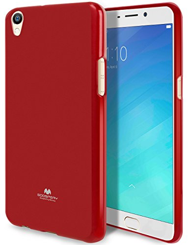 Goospery Marlang Marlang Oppo R9Plus Hülle, Gratis Bildschirmschutzfolie [Slim Fit] TPU Fall [Flexibel] Pearl Jelly [Schutz] Bumper Cover für Oppo R9Plus, Rot