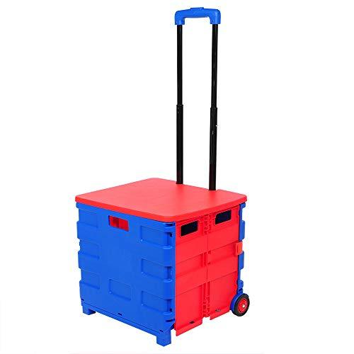 E-starain 64 L Einkaufstrolley Einkaufswagen klappbar bis 35kg, Klappbox Einkaufstransportwagen Shopping Trolley Faltbox mit Rollen,Blau-Rot