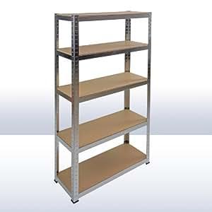 Étagère galvanisé 5 rayonnages bois charge 350 kg modulable atelier