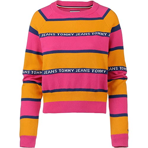 Hilfiger Denim Damen Pullover TJW Tommy Tape Stripe Sweater, Gelb (Radiant Yellow/Multi 704), X-Large (Herstellergröße: XL)