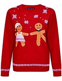 Heart And Soul Ladies Christmas Dancing Gingerbread Jumper 3D Embellished Top