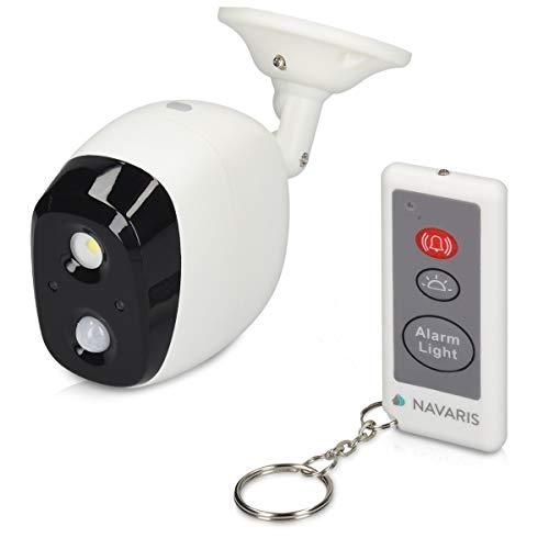 Navaris Sistema de Alarma antirrobo - Sensor de Movimiento PIR con Control Remoto - Alarma de 120 dB con luz Ajustable - para Exteriores IP44