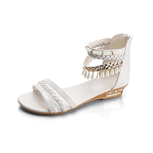 Damen Sandalen Peep-Toe Bohemian Stil mit Strass Dekoriert Flach Geflochten Modisch Strand Urlaub Topaktuell Schuhe Weiß