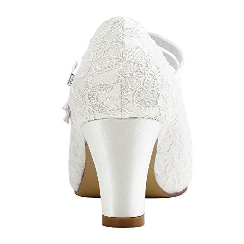 ElegantPark HC1708 Pumps Mary Jane Block Absatz Geschlossene Zehen Lace Satin Brautschuhe Ivory Gr.40 -