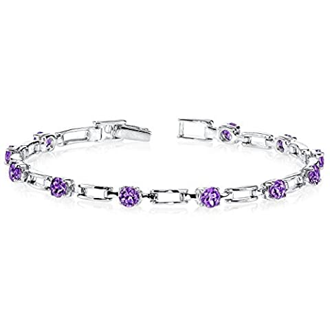 Revoni Gorgeous and Chic: 2.50 carats total weight Round Shape Amethyst Gemstone Bracelet in Sterling Silver