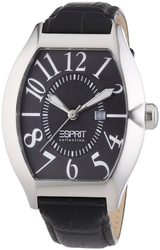 Esprit Collection Men's Quartz Watch with Black Dial Analogue Display and grey Leather hector