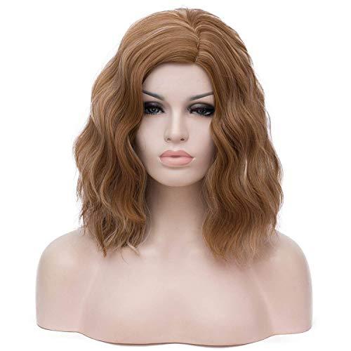 Milrüme Kurze Perücke für Frauen Synthetisch Volles Haar Perücken Für Mädchen Pastell Hitzebeständig Cosplay Tägliche Party Perücke Natürlich Als Echthaar (Blond Braun) DE011F -